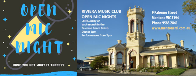 Mentone RSL Riviera Music Club Open Mic Night