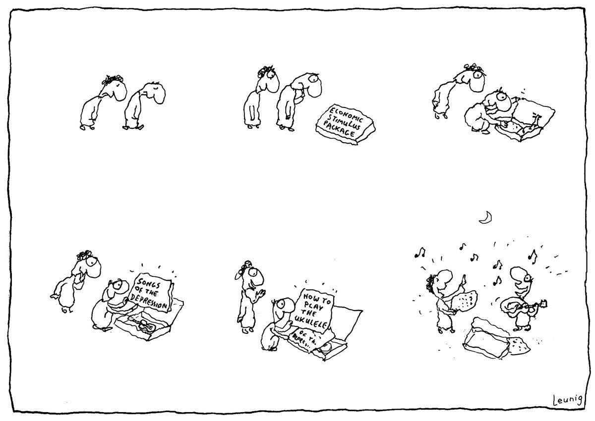 Michael Leunig Appreciation Society Cartoon on the Ukulele
